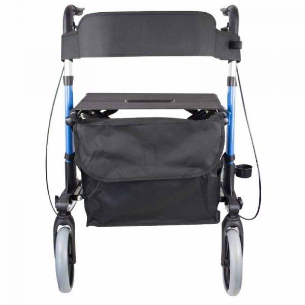 andador 4 ruedas plegable aluminio frenos en manetas asiento y respaldo trajano deluxe mobiclinic 2