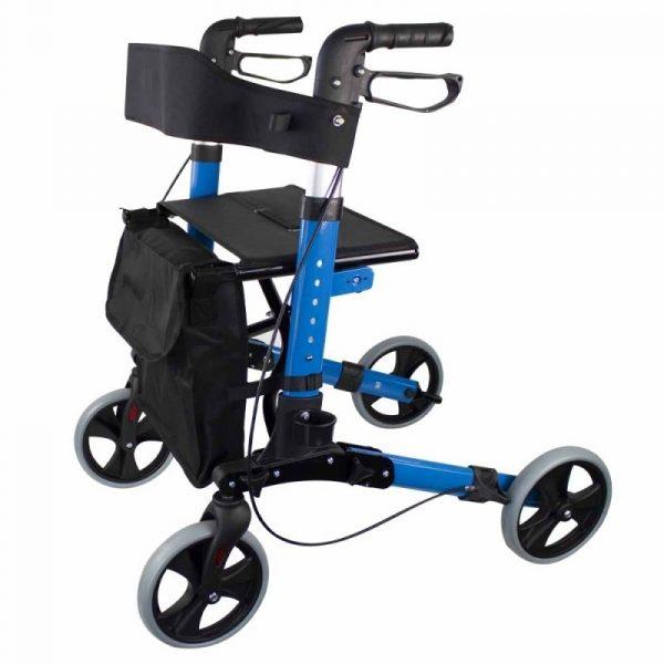 andador 4 ruedas plegable aluminio frenos en manetas asiento y respaldo trajano deluxe mobiclinic