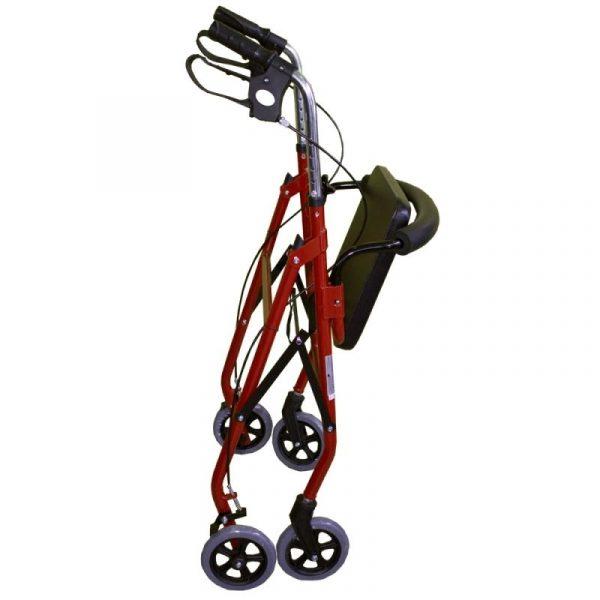 andador aluminio plegable freno en manetas asiento y respaldo cesta para ancianos granate alhambra mobiclinic 1