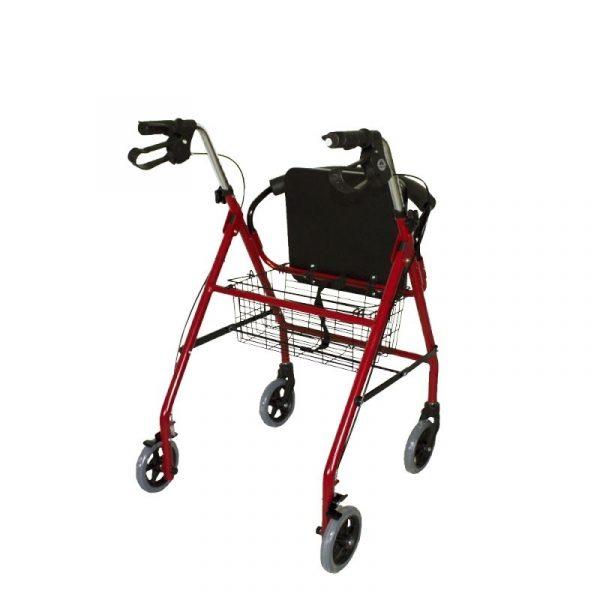 andador aluminio plegable freno en manetas asiento y respaldo cesta para ancianos granate alhambra mobiclinic 2