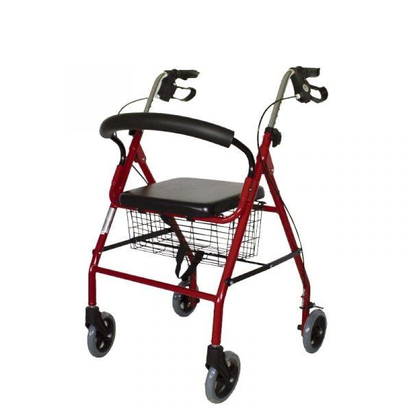 andador aluminio plegable freno en manetas asiento y respaldo cesta para ancianos granate alhambra mobiclinic 5