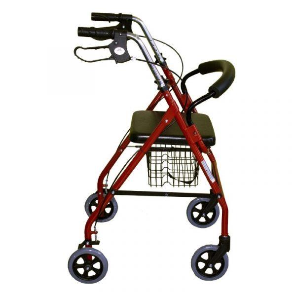 andador aluminio plegable freno en manetas asiento y respaldo cesta para ancianos granate alhambra mobiclinic