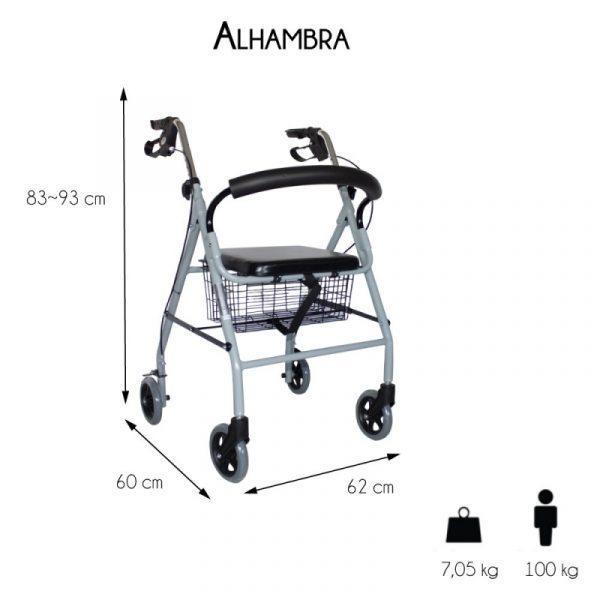andador para ancianos aluminio plegable frenos en manetas deluxe gris alhambra mobiclinic 1