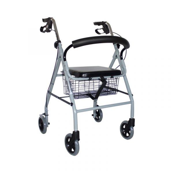 andador para ancianos aluminio plegable frenos en manetas deluxe gris alhambra mobiclinic