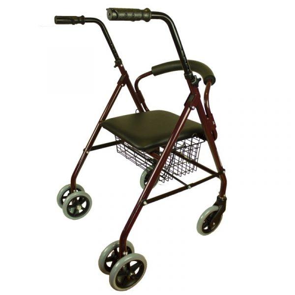andador plegable asiento y respaldo aluminio cesta para ancianos prado mobiclinic 2