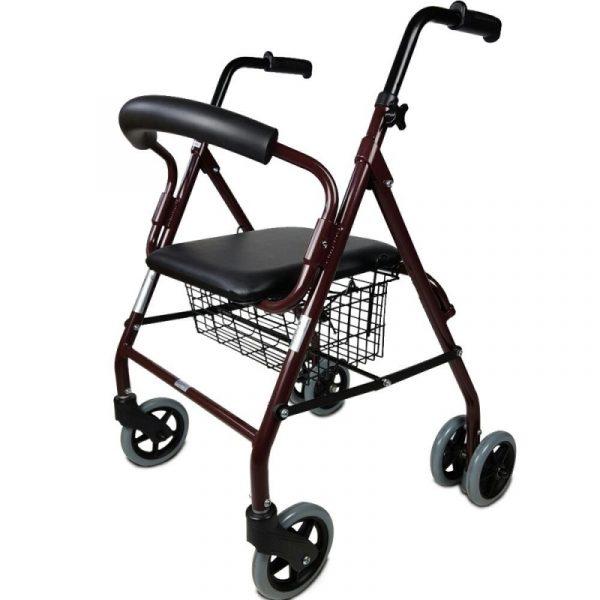 andador plegable asiento y respaldo aluminio cesta para ancianos prado mobiclinic